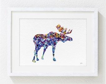 Geometric Blue Moose Watercolor Print - 5x7 Archival Fine Art Print - Gift, Wall Decor, Home Decor, Housewares