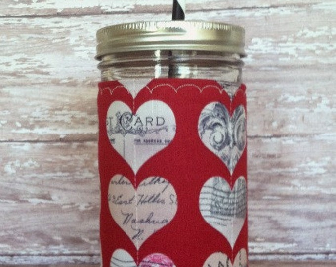 Mason Jar Tumbler 24oz Vintage Hearts Insulated Sleeve w BPA Free Straw - Travel Mug Great Gift