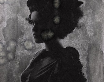 Happy Accidents - FREE SHIPPING Surreal photo print Dark art Creepy portrait Black & White Fine art image gray Silhouette Bird in girls hair