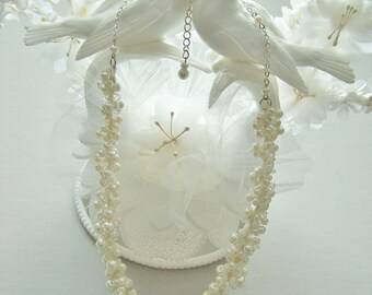 Ivory & Crystal Pearl Necklace, Bridal Statement Necklace, Knitted Beaded Wedding Jewelry