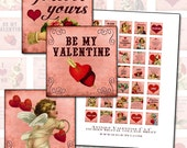 """Pink and Red Victorian Valentine inchies digital collage sheet 1x1"""" 25mm 1"""" square quotes cupid shabby chic"""