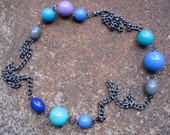 Eco-Friendly Statement Necklace - Can You Hear Me Now? - Recycled Vintage Steel Curb Chain and Shiny Beads in Bright Blues, Purple and Grey