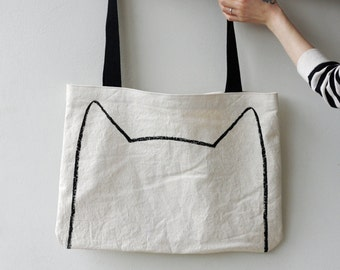 Cool Crazy Cat Lady Gift : Handmade Canvas Tote Bag, cat lover christmas gift for sister, screenprinted bag, travel bag, market tote bag