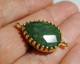 1pc- Matte Gold Emerald Green Jade,  Tear Drop Connector, Pendant-32x12mm (014-002GP)