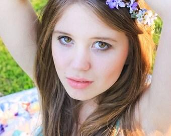 flower girl crown, purple headband, purple flower crown, purple flower girl, lavender, lilac flower, bridesmaid circlet, purple hairpiece