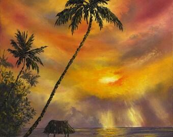 TROPICAL SUNSET Original 16x20 Palette Knife Oil Painting Hawaii Tahiti Caribbean Palm Tree Tiki Hut Ocean Paradise Shack Ocean Sunrise