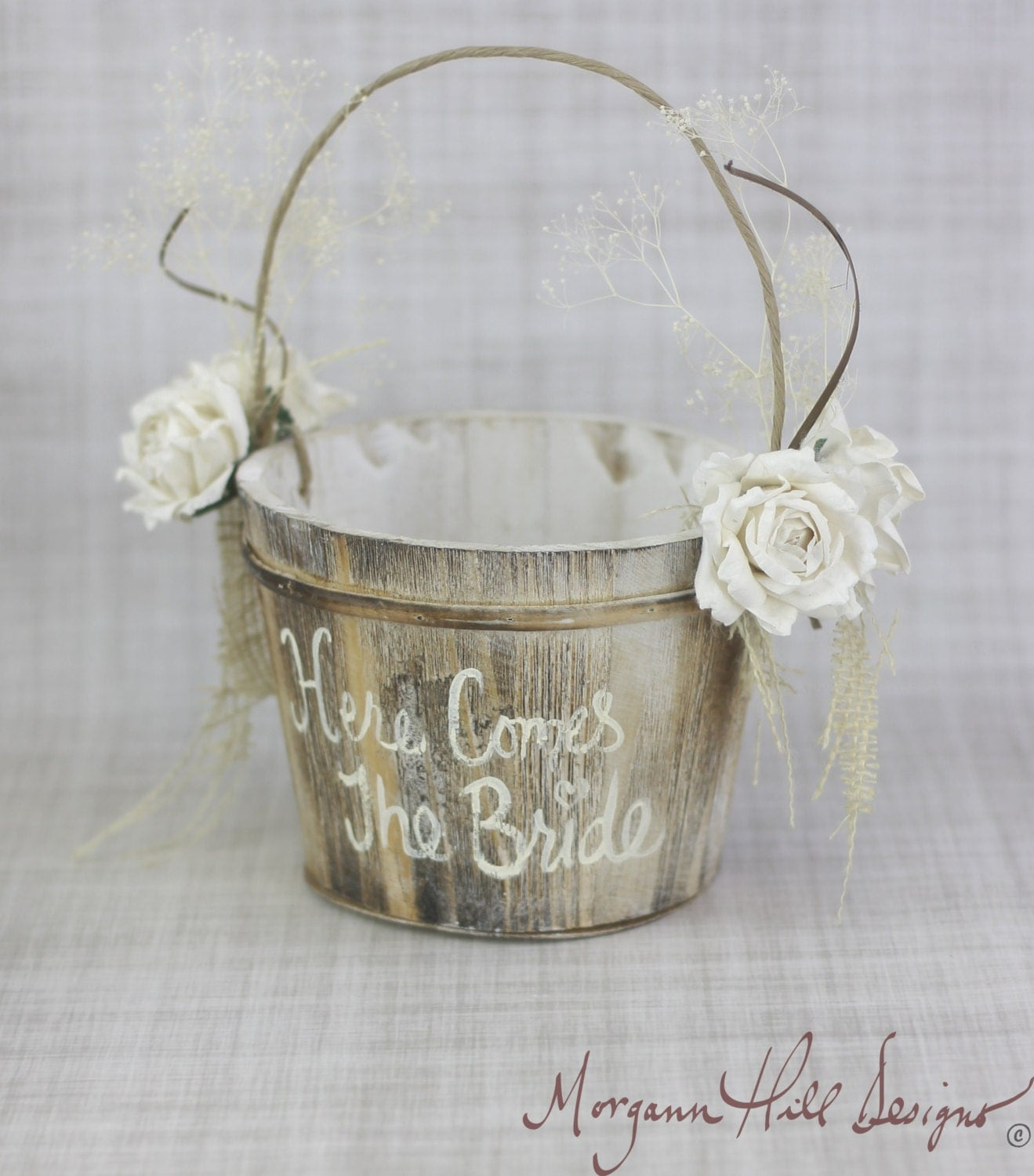 Here Comes The Bride Flower Girl Basket Rustic By Braggingbags