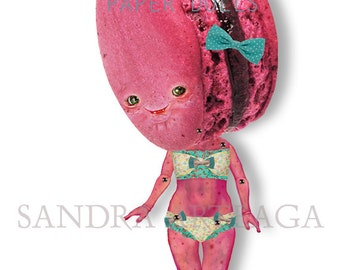 Geraldine  - articulated Paper Doll 9.8 inches - macaron fuchsia pink raspberry strawberry swimming wonderland tea party ooak cookie doll