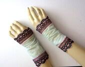 Fingerless Lace Gloves, XS, Seafoam Green Turquoise Blue Black - Wedding Gothic Victorian Tribal Belly Dance Noir Bridal