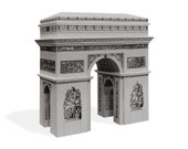 Arc de Triomphe - architectural cardboard scale model    16 cm = 6 inches high    white - gold - silver - steel color metallic paper