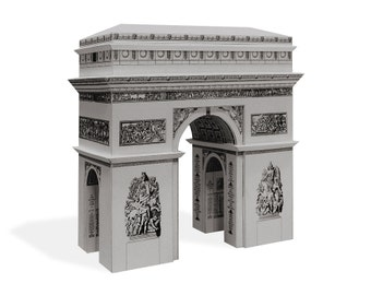 Arc de Triomphe - architectural cardboard scale model || 16 cm - 6 inches high || white - gold - silver - steel color metallic paper