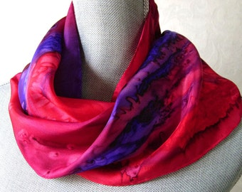 Silk Scarf Handpainted in Red, Berry  and Purple