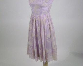 "Vintage 50s Dress, Lilac Prom Party Dress, Pastel Lilac, Flocked White Flowers,  Rosette, Sleeveless, Sheer Nylon, Crinoline, Bust 32"""
