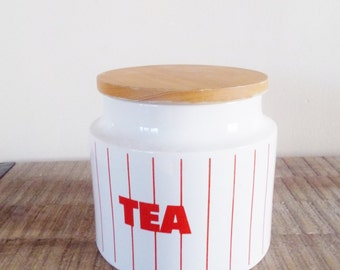 Vintage Hornsea Pottery White and Red Striped Tea Canister