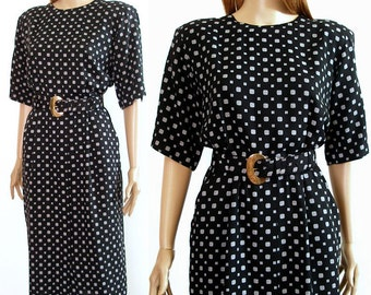 1980s Dress Vintage Black White Pencil Dress / Large