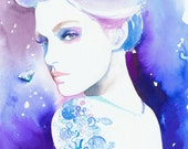 Archival Prints of Watercolour Fashion Illustration by Cate Parr. Titled - Diamonds are Forever Diamond Tattoo