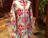 Alaska Trumpet Flower Rainpuk, Amy Butler Fabric, Raincoat Kuspuk for Women