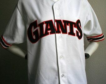1980's San Francisco Giants MLB baseball Sand Knit Medalist collector polyester button-up unisex baseball jersey no. 41 - men's sz 42/M