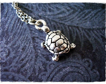 Small Silver Turtle Necklace - Silver Pewter Turtle Charm on a Delicate Silver Plated Cable Chain or Charm Only