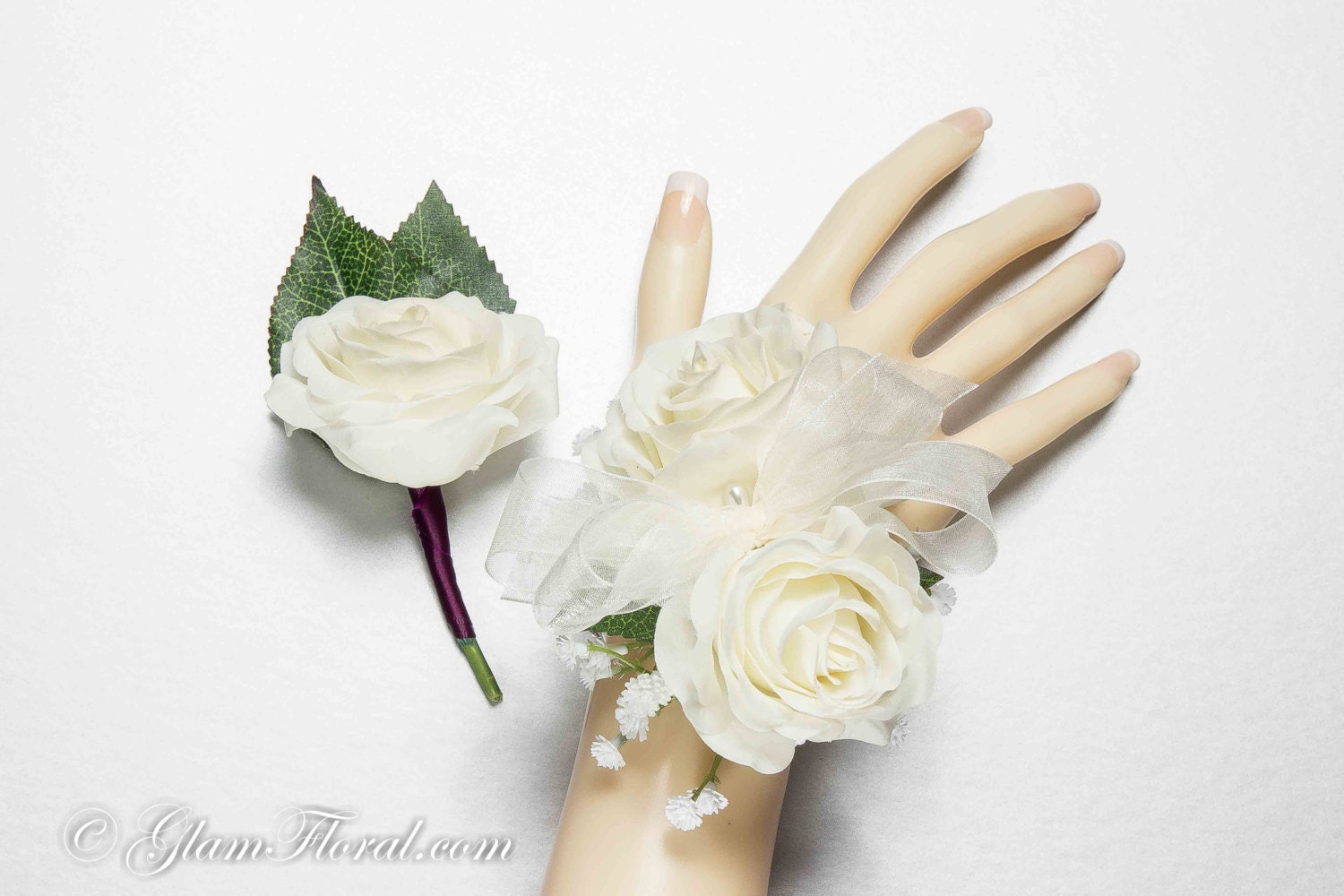 Petite Rose Wrist Corsage & Boutonniere Set Real Touch
