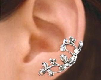 Berry Leaf ear cuff Sterling Silver earrings Leaf jewelry Leaf earrings Sterling silver ear cuff Small clip non pierced earcuff C-077