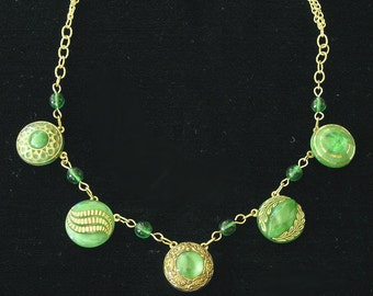 Necklace Made from Mid-1900s Green and Gold Luster Glass Buttons