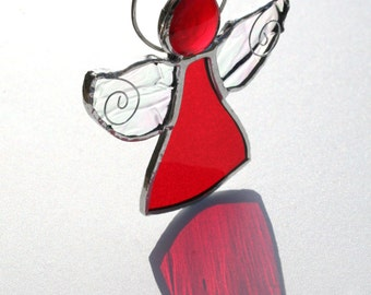Ruby Red Stained Glass Angel Suncatcher,July Birthstone Angel,  Christmas Angel, guardian angel, angel gift, keepsake angel blessings