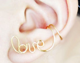 Ear Cuff Gold Love Earcuff Ear Wrap Cartilage