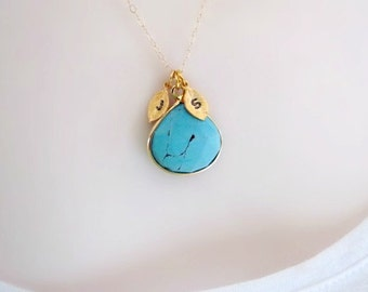 Turquoise Necklace, Gold Initial Necklace, Mothers Necklace, Two Initial Necklace, Gemstone Necklace, December birthstone, initial jewelry,