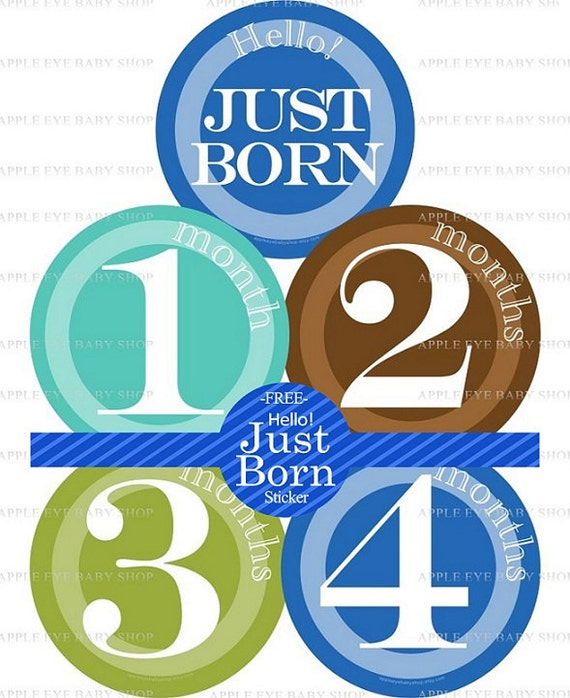 Baby Month Milestone Stickers FREE Baby Month Sticker Baby Monthly Stickers Baby Boy Bodysuit Stickers Baby Gifts Teal Blue Brown Green