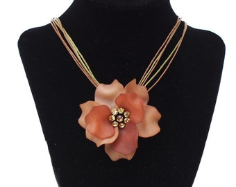 Vintage Rose Necklace Brown Corded Plastic Flower Choker Rhinestone Jewelry Elegant Necklace