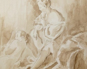 "Ink study from François Boucher's painting ""Summer."" 9 x 11.5 inches"