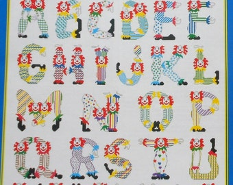 Cathy Livingston CLOWN ALPHABET SAMPLER By Just Cross Stitch - Counted Cross Stitch Pattern Chart