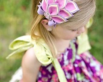 Pink Lavender Yellow Headband - Wool Felt Flower Headband- Dahlia Headband- Baby Headband- Teen Adult Headband- Easter Headband - Spring
