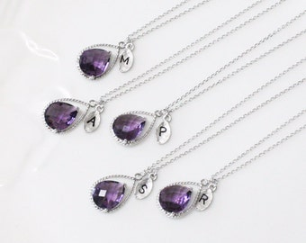 Bridesmaid gifts - Set of 4, 5, 6 -Leaf initial, purple necklace, Gorgeous Drop, Initial necklace
