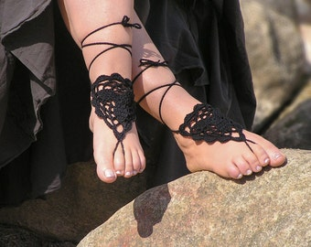BAREFOOT SANDALS, Crochet Foot Jewelry, Beach Wedding, Sandles, Nude Shoes, Hippie, Gypsy, Gothic Anklets, Black Cotton, Made to Order