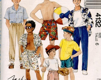1980s McCalls 4132 Easy Boys Pattern Shirts, Shorts & Pants Patterns Size 6, Chest 25 Vintage Kids Childrens Sewing Patterns Complete