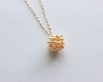 """Gold Necklace - Beaded Pearl Necklace - 20"""" - Freshwater Champagne Pearl Pendant on Matte Gold Chain"""