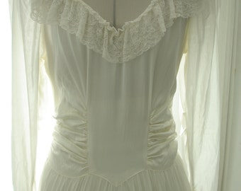 1930 Gatsby Style Satin, Lace and Silk Crepe wedding Dress