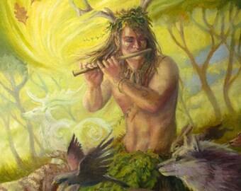 Cernunnos Nature God 5x7 Original Art Celtic Pagan Painting