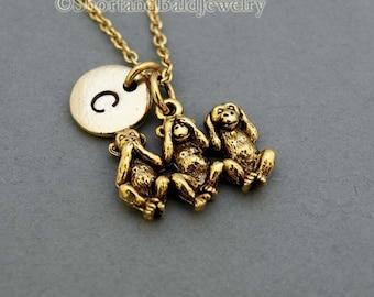 Three Monkeys Necklace, three wise monkeys, monkey, see no evil hear no evil speak no evil, initial, personalized, monogram
