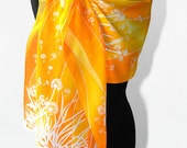 Silk Scarf long - Dandelions & Birds - silk scarves hand painted for summer - orange gold white yellow - woman accessories - MinkuLUL
