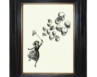 Halloween Girl Art Print Skull Balloons Victorian Steampunk art print Skeleton Anatomy Morbid Art Taxidermy Bones