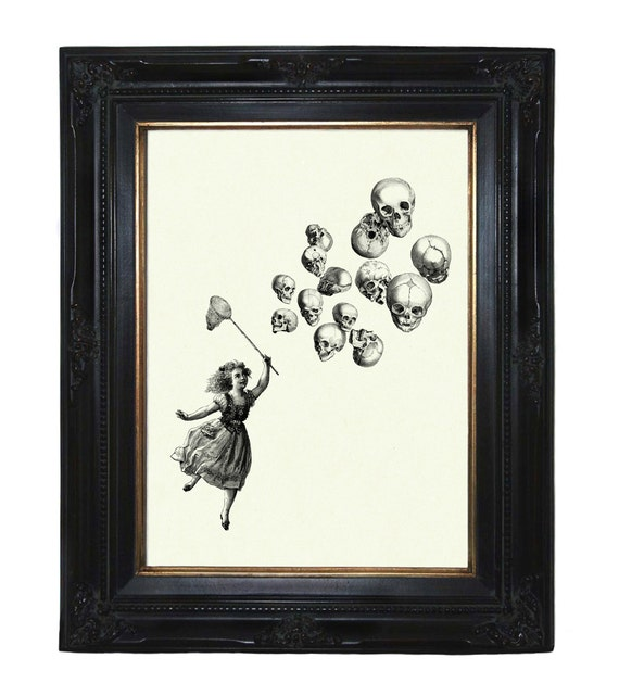 Halloween Girl catching Skull Balloons Victorian Steampunk art print - Etsy Awards 2016 Finalist!