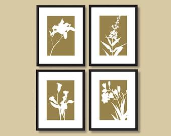 Botanical Silhouette Print Set, Flower Drawings, Gift for Gardener or Naturalist, Flower Silhouettes, Flower Print Set, 8 x 10 or  11 x 14