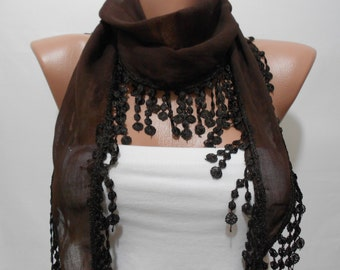 Chocolate Brown Scarf Women Scarf with Lace Edge Soft Cotton Scarf Gift For Mom For Her Spring Summer Women Fashion Accessory MiracleShine