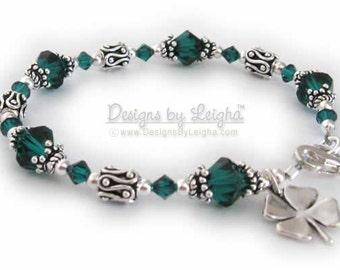 Shamrock Bracelet and Gifts, Four Leaf Clover, St Patrick's Day, Irish Bracelet with Charm