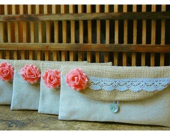 burlap lace Personalized Bridesmaid Gift, Bridesmaid Clutch purse Wedding Accessory, Clutch Bridesmaid Gift, Wedding Party, Country Wedding
