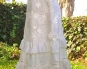 STUNNING White DRESS OOAK Wedding Gown Bridal Dress Bridesmaid Hawaiian Polynesian Flowers Vintage Eyelet Lace by designer elyse oRiGiNaLs