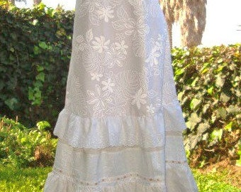 STUNNING White DRESS OOAK Wedding Gown Bridal Dress Bridesmaid Hawaiian Polynesian Flowers Vintage Eyelet Lace by designer elyse oRiGiNaLs